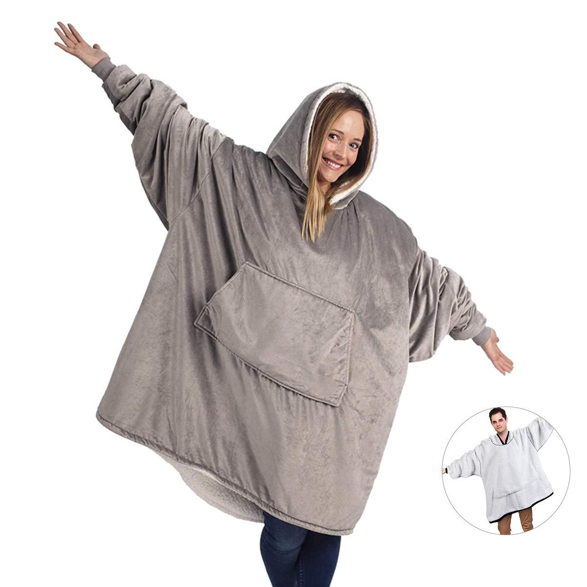 Kid Boys Girls Oversized Hooded Sweatshirt Plush Blanket Soft Warm Pullover Coat