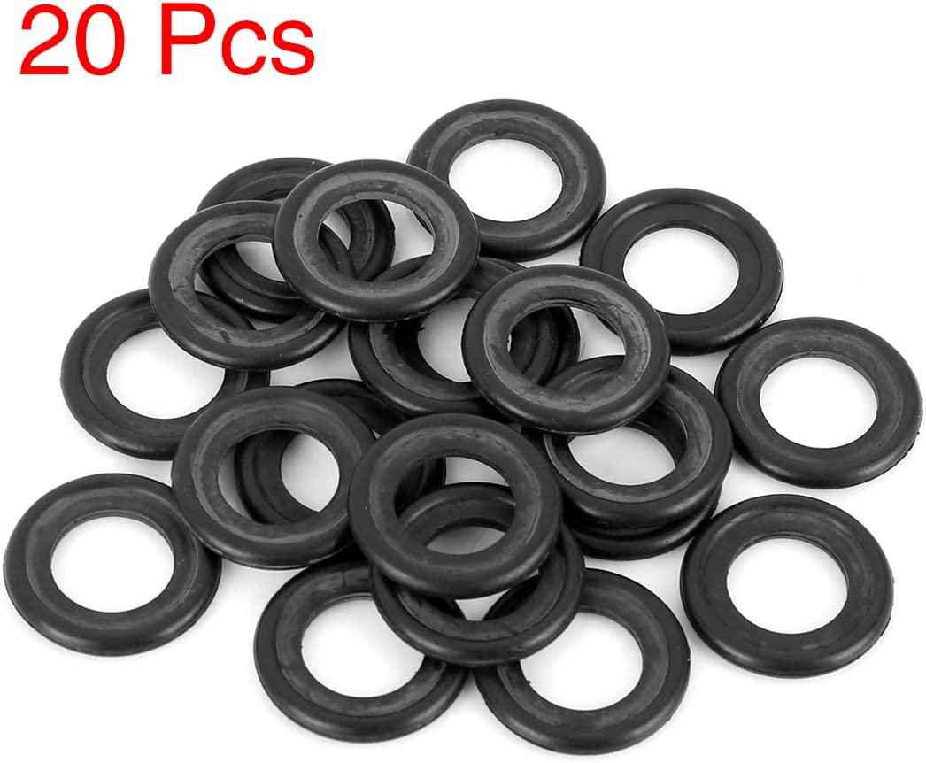 X AUTOHAUX 20pcs M14 Rubber Oil Drain Plug Gaskets Replacement Universal Black for Car