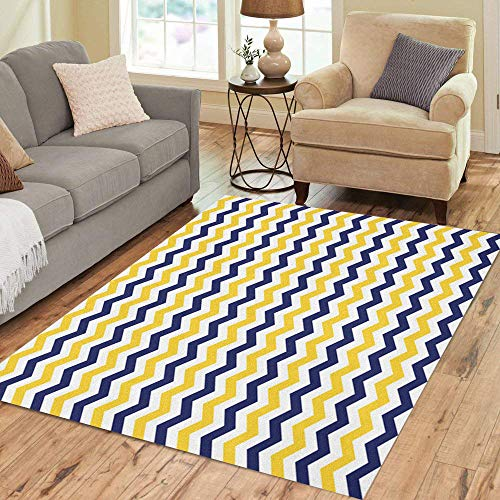 Pinbeam Area Rug Navy Yellow Blue White Colors Chevron Pattern Colorful Home Decor Floor Rug 5' x 7' Carpet -