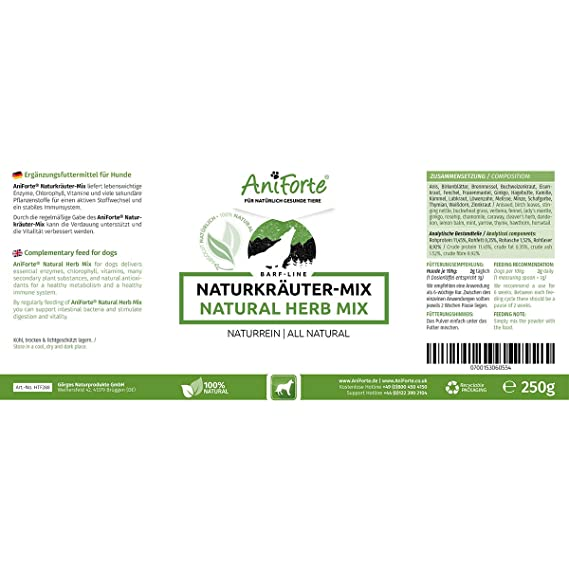 Aniforte Barf- Line - Mezcla de hierbas naturales, 250 g ...