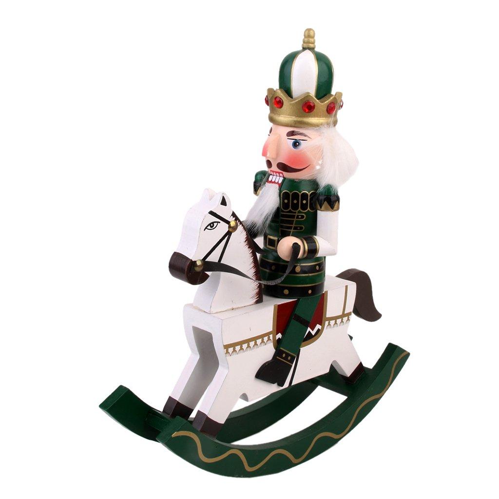 Wood Handmade Nutcracker Doll on Rocking Horse Green