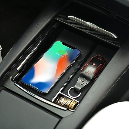 Consola central Caja de almacenamiento con reposabrazos con carga inalámbrica para Tesla Model S y Model X Cargador inalámbrico apto para iPhone ...