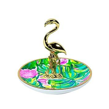 Amazoncom Lilly Pulitzer RingJewelry Holder Flamingo Painted