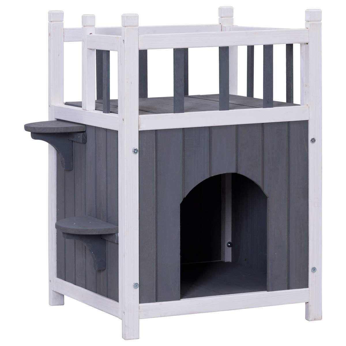 Tangkula Cat House 2 Story Wood Outdoor Weatherproof Pet Kitten Condo Shelter by Tangkula