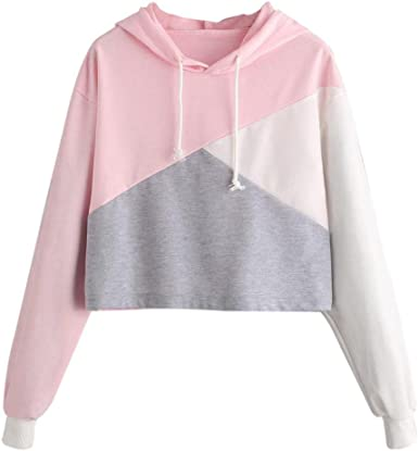 Fashion Women Solid Long Sleeve Letter Hoodie Pockets Drawstring Sweatershirt ZOMUSAR Blouse For Women