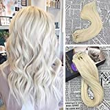 Moresoo Clip on Hair Extensions Human Hair 22 inch 120 Grams 7 Pieces Hair Extensions Clip on #60 Platinum Full Head Set Clip in Double Weft Hair Extensions