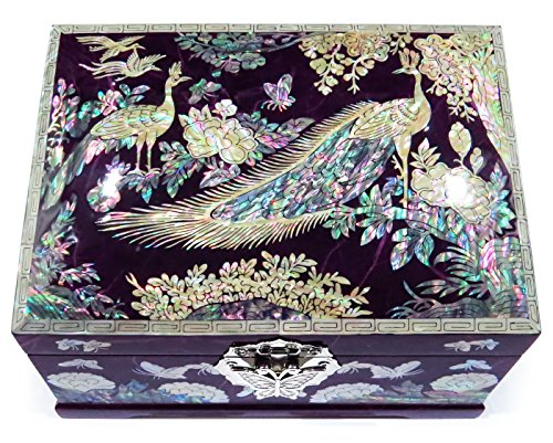 MADDesign Jewelry Box Ring Organizer Mother of Pearl Inlay Mirror Lid 2 Level Peacock Purple
