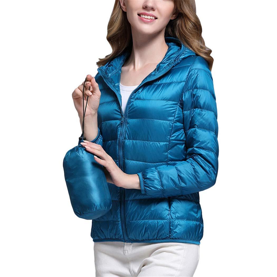 AOJIAN Women Jacket Long Sleeve Outwear Hooded Puffer Pocket Zipper Bright Color Slim Fit Solid Coat Blue by AOJIAN