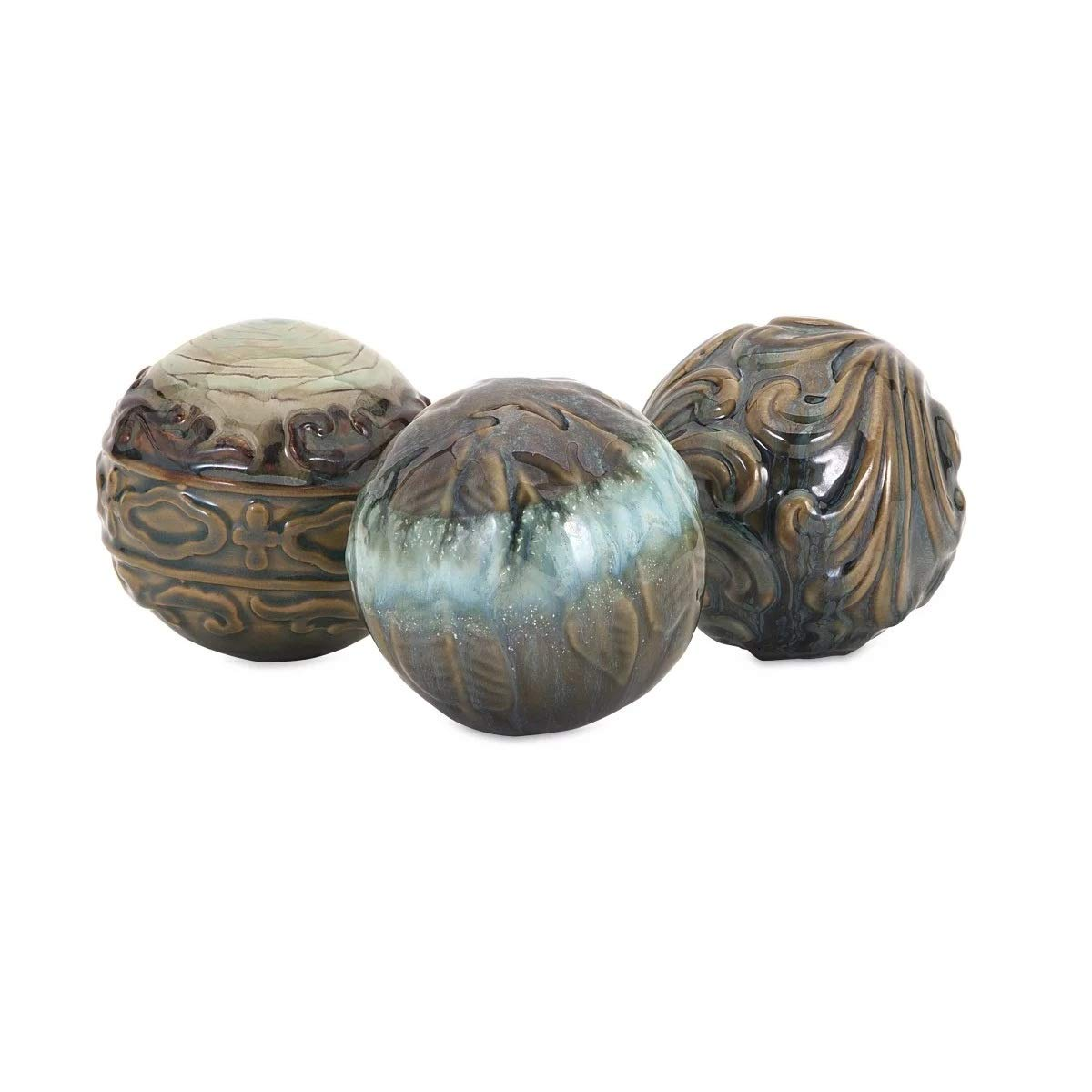 CC Home Furnishings Set of 3 Arlena Brown Abstract Designed Ceramic Sphere Balls 4'' by CC Home Furnishings