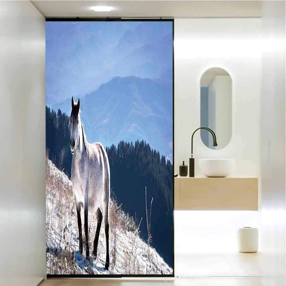 Película autoadhesiva para dormitorio con diseño de caballo sobre montañas nevadas, animales salvajes, decoración para el baño del hogar, baño, 23.6 x 78.7 pulgadas