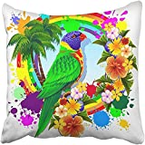 Throw Pillow Cover Polyester 18X18 Inches Animal Rainbow Lorikeet Parrot Bird Brightly Colors Coloured Exotic Flowers Haematodus Decorative Cushion Pillow Case Square Two Sides Print For Home