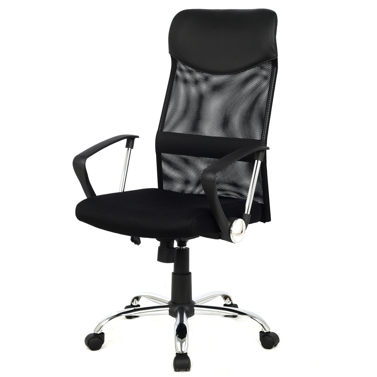 Modern Furniture 8074-BK High-Back Swivel Ergonomic Mesh/PVC Seat Desk Task Computer Swivel Lumbar Support Executive Office Chair with Seat Height Adjustment by mck (Image #2)