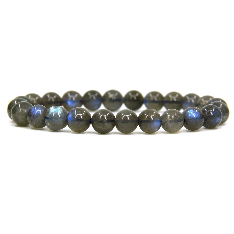 Handmade Natural AA Grade Labradorite Gemstone 8mm Round Beads Elastic Bracelet 7 Unisex