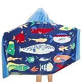 Houzemann Baby Kid's Hooded Bath Towel 100% Cotton Toddler Children Beach/Swim Towel 100% Cotton Cutie with Pattern—-Fire Truck/Dinosaur/Whale
