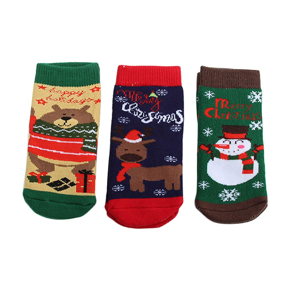 Aikesi Socks Christmas Winter Autumn Lovely Ankle Cotton Socks for Boy Girl 3 PairsS Size(0-1 Years Old)