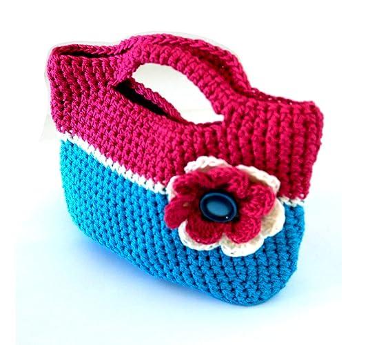 Mädchen Häkeln Handtasche Mädchen Tasche Blume Tasche