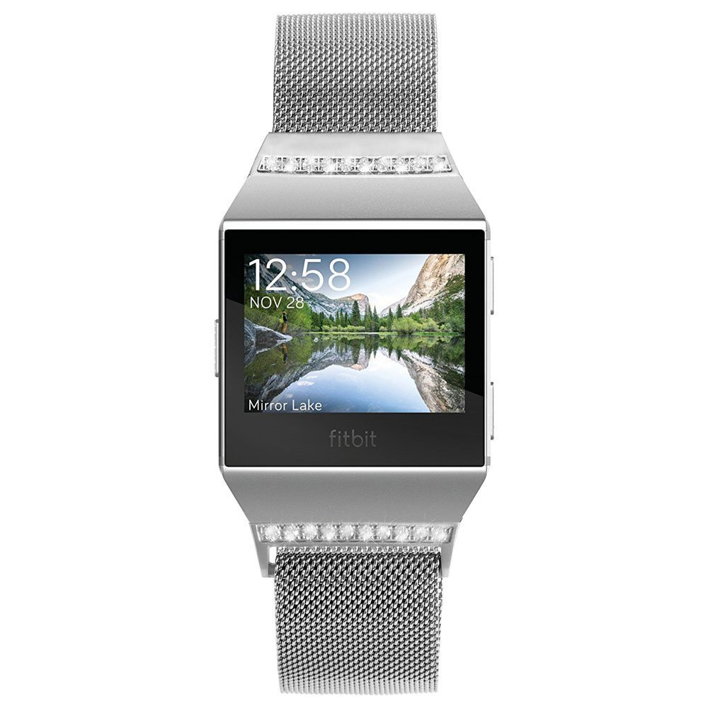 Biaoge Fitbit Ionic Bands Small & Large,Magnetic Stainless Steel Milanese Loop Metal Replacement Strap for Fitbit Ionic Watch Women Men (Silver with Diamond, Large:6.5''-9.9'')