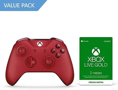 Microsoft - Mando Inalámbrico, Color Rojo (Xbox One), Bluetooth + Suscripción Xbox Live Gold - 3 Meses: Amazon.es: Videojuegos