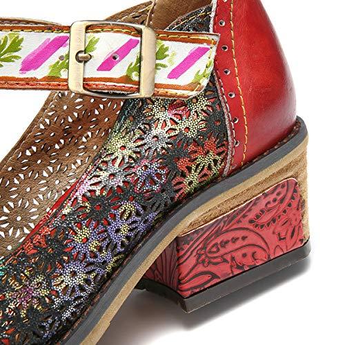 Mocassini Scarpe Summer Janes pelle pumps da in tacco donna Scratch originali Rosso piatte Ballerine multicolore comode Mary con Spring Gracosy r8Zr0xwq