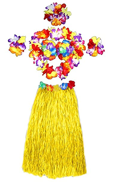 JUNGEN 6pcs Falda de Hierba de Hula con Flores Disfraces ...