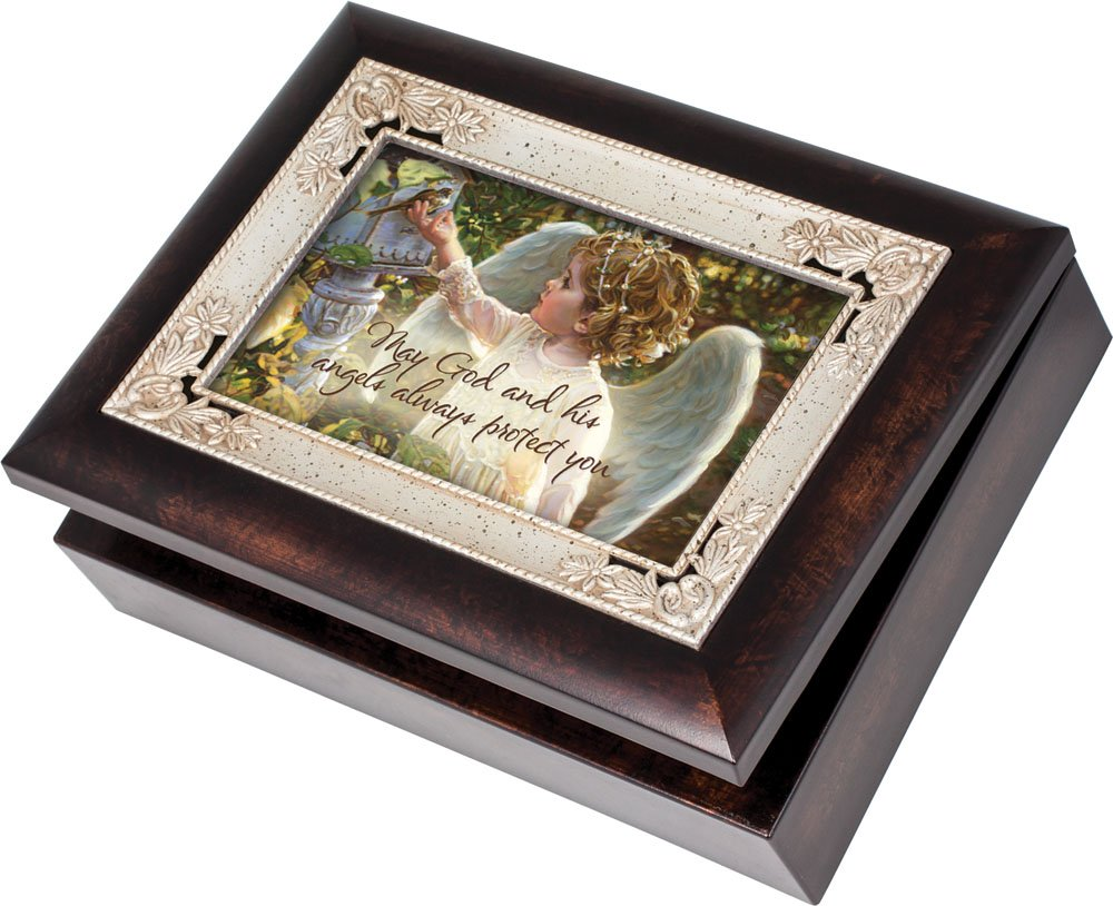 Cottage Garden May God and His Angels Burlwood Jewelry Music Box Plays Amazing Grace