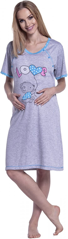 Happy Mama Cyan, EU 40//42, L 141p Damen Umstands-Nachthemd mit Stillfunktion Stillshirt Kurzarm