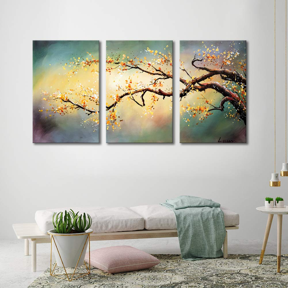 Artland modern 100 hand painted flower oil painting on canvas yellow plum blossom 3 piece gallery wrapped framed wall art ready to hang for living room for