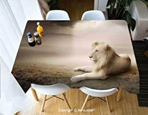SUPHOME Safari Decor Polyester Personalized Printed Durable Tablecloth White Lion Setting at Sunset Dramatic Sky Foggy Clouds Desert Sunbeams Wilderness Pose Rare for Home Dinner Kitchen Living Room