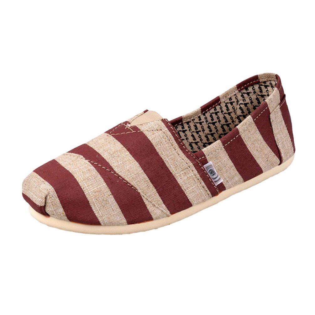 Dooxii Unisex Uomo Donna Durevole Casuale Loafers Scarpe Moda Striscia Espadrillas Basse Scarpe Slip on Flatsrosso