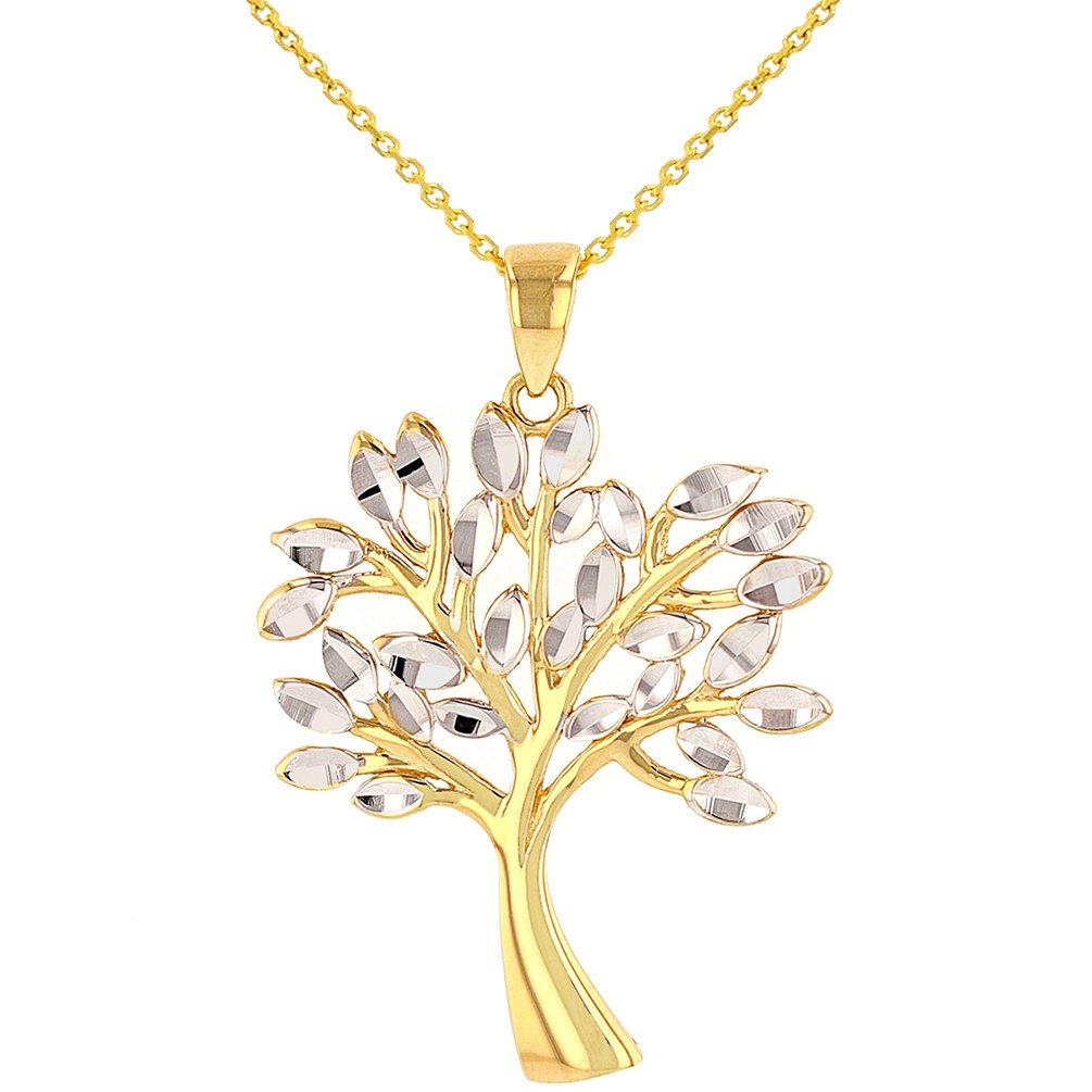 Solid 14K Yellow Gold Textured Elegant Tree of Life Pendant Necklace