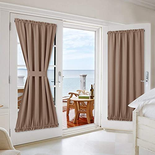 NICETOWN Patio Door Blackout Curtain Panels – Blackout Thick Thermal Blinds Privacy Draperies for Glass Door French Door with Adjustable Tie-Back – 2 Pieces W54 x L72 inches – Cappuccino