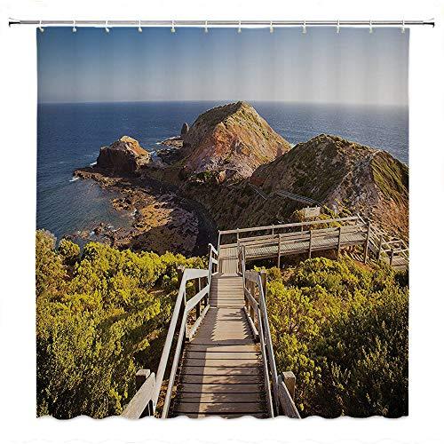 SATVSHOP Shower-Curtain-Fabric-with-Hooks-Bath-Curtain-Waterproof-House-Cape-Schanck-Boardwalk-UNS-Towards-The-Sea-ock-Formation-London-Bridge-Victora.-Australia.W60-x-L72-inch -