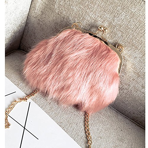 Soft Feather Women Faux Kiss Handbags Fluffy Mini Chain Crossbody Lock Bags Shoulder Purse Fashion Fur Pink g5qdwzq