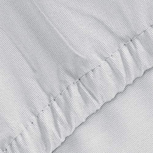 Fleuresse Uni Colours Drap Housse avec Bord élastique en Satin maco 100 % Coton Idéal pour Matelas d'une Hauteur Max. de 23 cm 180 x 200 cm Couleur argenté.