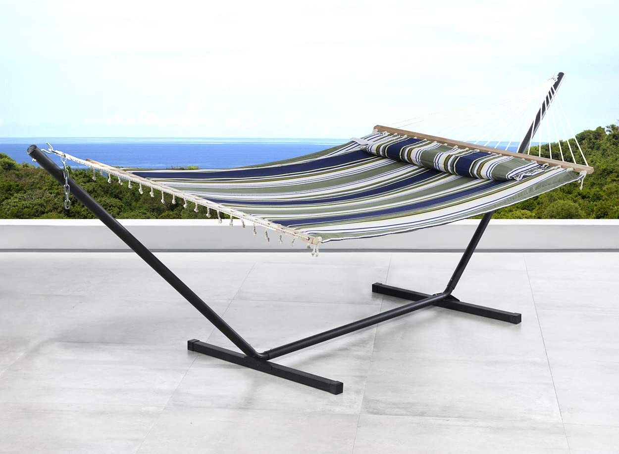 SUNCREAT 2 Person Double Hammock with 12 Foot Steel Stand, Includes Quilted Fabric Bed and Pillow, Blue Aqua