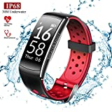 IP68 Fitness Tracker with Heart Rate Monitor and Blood Pressure - Bluetooth Smartwatch Waterproof Activity Tracker for Women Men Kids ( Red )