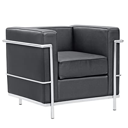 Incroyable Mid Century Modern Classic Le Corbusier LC 2 Style Replica Cube Sofa Chair  (1