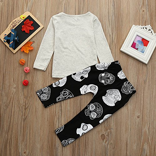 Hatoys Baby Care Boys Girls Letter Print Tops T-Shirt Skull Pants 2Pcs Outfits Set (70) by Hatoys (Image #4)