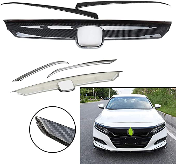 Glossy Black Front Hood Lid Bonnet Grille Cover Trim 3pcs for Honda Accord 2018