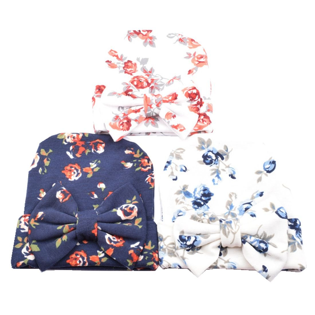 Blue Newborn Hospital Hat Cap with Big Bow Comfort For Infant Baby Girls 3 Pcs