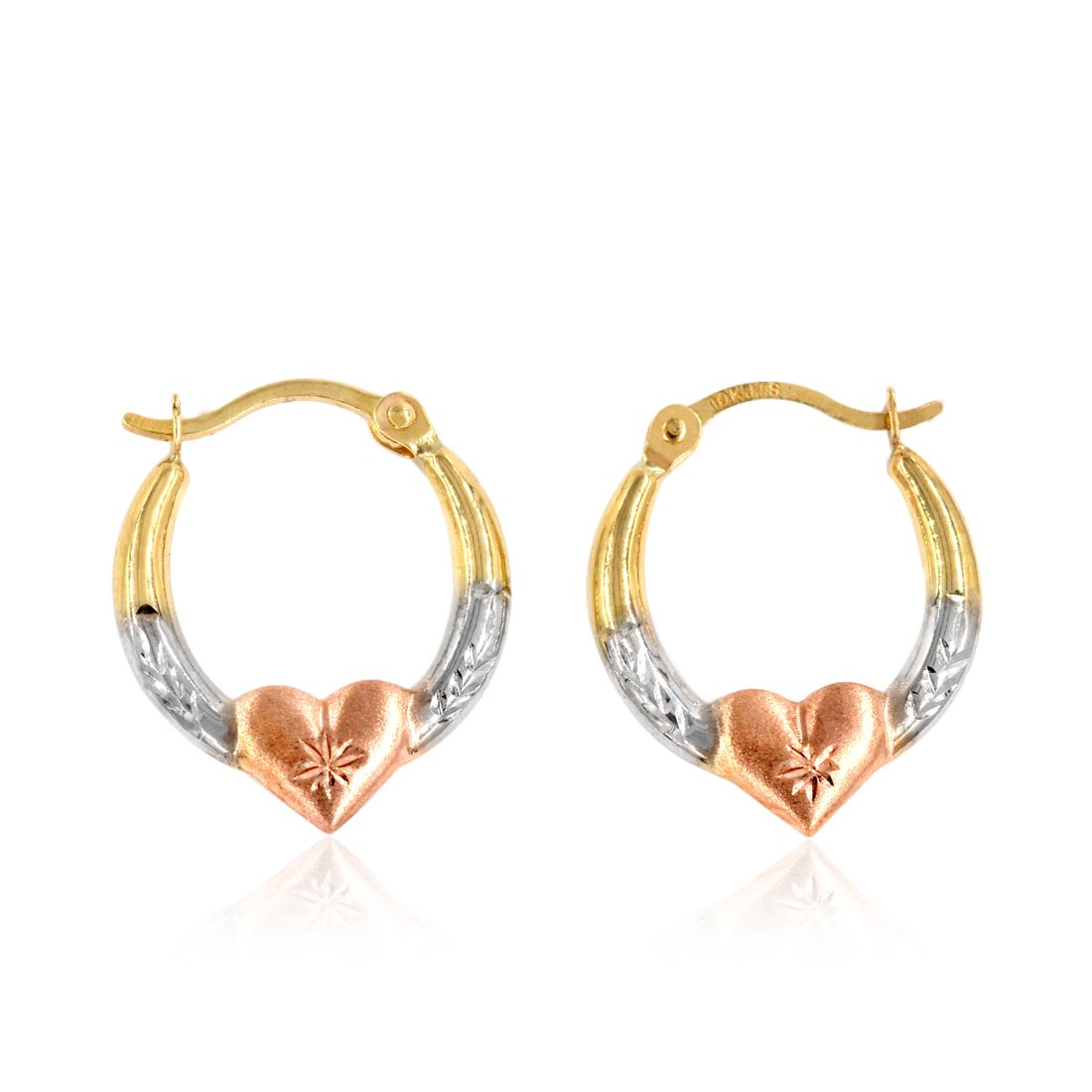 10K Gold Three-Tone Heart Creole Hoop Earrings