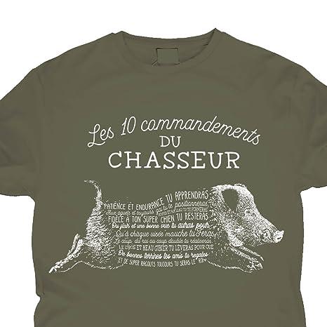 7c37dbfe9b967 Vices de Forme T-Shirt Humoristique - Les 10 Commandements du Chasseur Kaki  Vert XL EU  Amazon.fr  Vêtements et accessoires