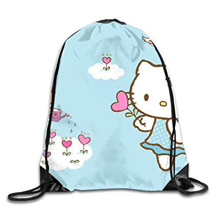 6eaf96874 Image Unavailable. Image not available for. Color: Meirdre Unisex Hello  Kitty Flying Sports Drawstring Backpack Gym Bag