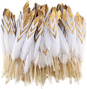 Sowder 50pcs Colorful Gold Goose Feathers 4-6inch(10-15cm) for Art Craft Party Decoration Clothing Accessories Duck Feather(White&Gold)