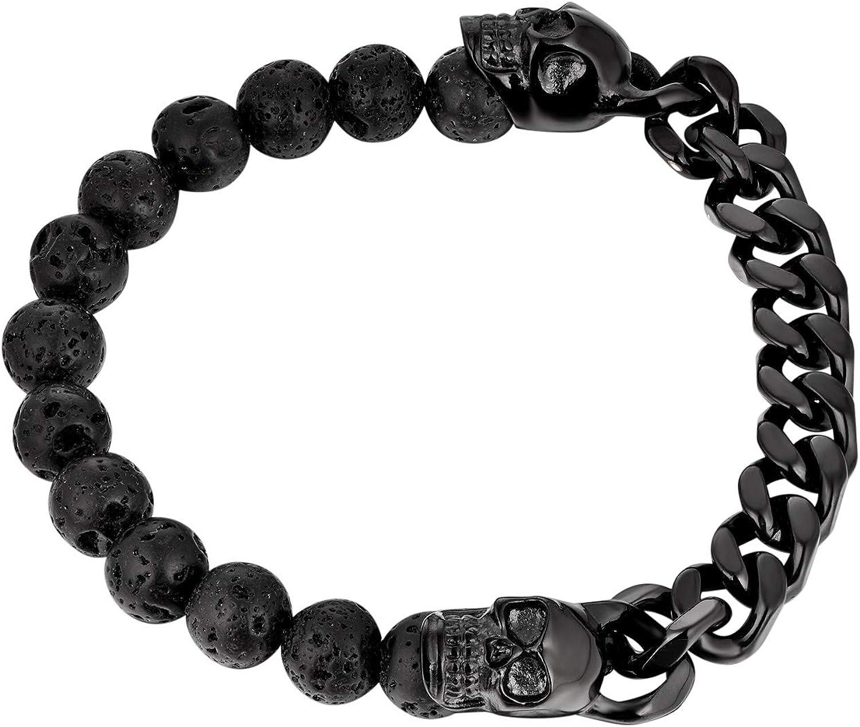 bijoux en acier inoxydable et pierres volcaniques FJ Bracelet asym/étrique pour hommes t/ête de mort