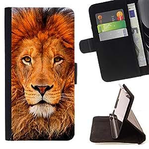 - Lion Mane King Animal Zoo - Estilo PU billetera de cuero del soporte del tir???¡¯???3n [solapa de cierre] Cubierta- For LG G2 D800 ( Devil Case )