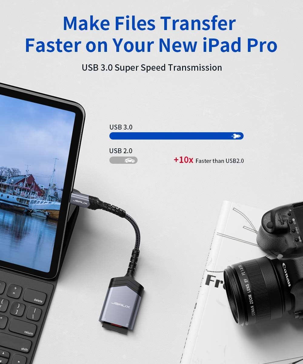 MacBook Pro//MacBook Air//iPad Pro 2020 2-in-1 SD//MicroSD Super Speed USB 3.0 Aluminiumgeh/äuse f/ür Galaxy S20 JSAUX USB C Kartenleser Surface Book 2-Grau