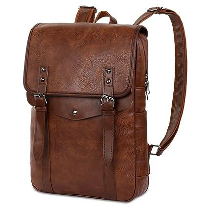 6f36eadb0b Vbiger Sac à dos en cuir Vintage Vintage Sac à dos pour ordinateur portable  Sac à