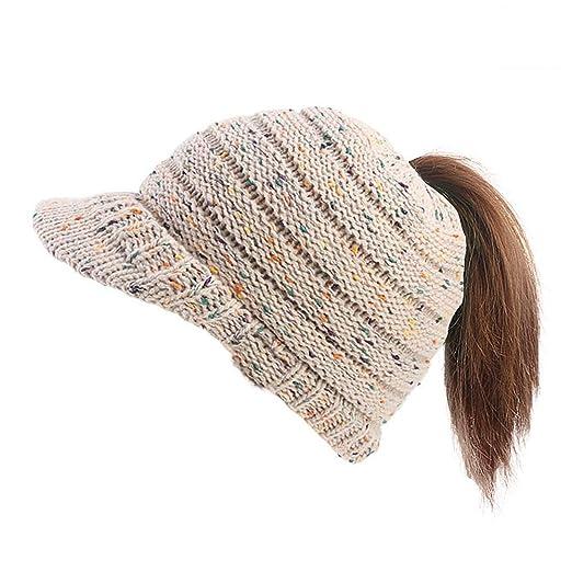 74ddfeec2cdbb COCO LEE Winter Confetti Beige BeanieTail Knit Ponytail Hat for Women Girls  Warm Messy High Bun Visor Beanie Cap at Amazon Women s Clothing store