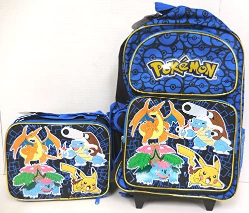 "Pokemon Rolling Backpack 16/"" Large School Rolling Backpack  Roller  Luggage"